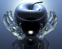3d apple. In glass hands Stock Photos