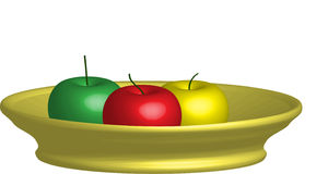 3D Apple. S in the bowl Stock Photos