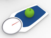 3d apple on a weight scale.  Stock Images