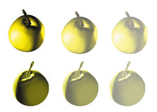 3d Apple on white background. 3d Apple yellow on a white background Royalty Free Stock Photos