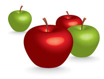 3D apples. Green and red 3D apples -  illustration Stock Images