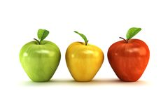3d apples. The three-colour apples 3d rendering Stock Photos