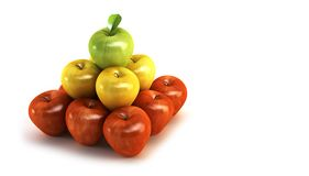 3d apples. The three-colour apples 3d rendering Royalty Free Stock Images