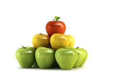 3d apples. The three-colour apples 3d rendering Stock Photography