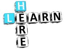 3D aprendem aqui palavras cruzadas Foto de Stock Royalty Free