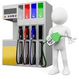 3D arbeider bij een benzinestation met een benzinepomp Stock Fotografie
