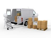 3d arbeiders die dozen laden aan een bestelwagen Stock Foto