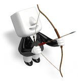 3d archer man looking upward with their bow Royalty Free Stock Photography