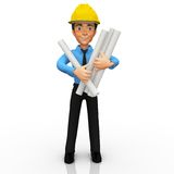 3D Architect with blueprints Royalty Free Stock Image