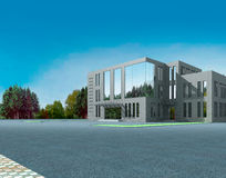 3d architectural. 3d construction of office building. Concept - modern city, modern architecture and designing Royalty Free Stock Images
