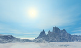 3D arctic landscape. 3D render of arctic frozen and sunny landscape Stock Photos