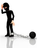 3D arrested thief Stock Images
