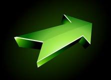 3d arrow. 3D green arrow on black Royalty Free Stock Photo