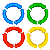 3D Arrow. Illustration of 3D circle arrows in different colors Stock Photography