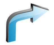 3D Arrow. 3D blue arrow in white background Stock Photos