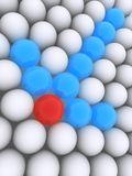 3d arrow. 3d rendered illustration of white blue and red balls Royalty Free Stock Image