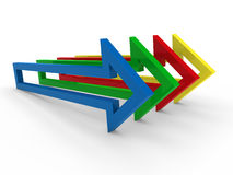 3d arrow blue yellow green red Royalty Free Stock Photography