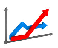 3d arrow on the chart Stock Image
