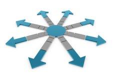 3D arrow circle blue. 3D arrow in a circle color blue gray Stock Photography