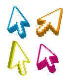 3d arrow cursor. 3d arrows cursor over white background. vector Stock Photo