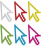 3d arrow cursors, set one. 3d arrow cursors isolated on white, set one - vector illustration Stock Photos