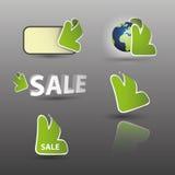 3D Arrow Labels. Green 3D Sale Arrow Labels Royalty Free Stock Images