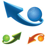 3D arrow and orb. Illustration 3D arrow and tech sphere icon, symbol Royalty Free Stock Image