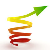 3d arrow pointing up. On white background Stock Images