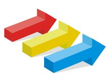 3d arrow red yellow blue Royalty Free Stock Image
