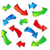 3D arrow sketchy design elements set. 3D arrow color sketchy design elements set vector illustration vector illustration