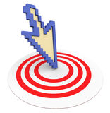 3d arrow on target. 3d arrow pointing to target Stock Photography