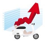 3d arrow up. With white motorbike vector illustration Royalty Free Stock Photo