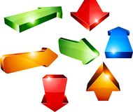 3d arrows. Shiny 3d arrows. Vector illustration Royalty Free Stock Images