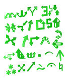 3d arrows. Green diferrent arrows and some symbols made in 3dmax Royalty Free Stock Image