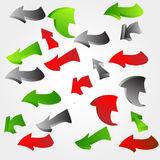 3d arrows. Set of many twisted arrows Stock Images
