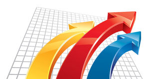 3D Arrows. Three 3D arrows red, yellow, blue moving up Stock Photos