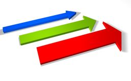 3d arrows. 3d direction arrows showing increase Royalty Free Stock Photography