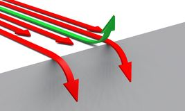 3D Arrows concept green red 05. 3D green an red arrows on white ackground with a hole Royalty Free Stock Images