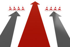 3d arrows and cones. On white background Royalty Free Stock Photo