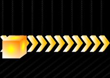 3d arrows and cube. Gold 3d arrows and cube on a black background Royalty Free Stock Photos