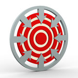3d arrows dart target. 3d render of arrows in circular shape pointing to dart target. Concept of setting goal and targets Stock Photo