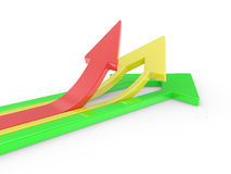 3D Arrows directed upwards Royalty Free Stock Image
