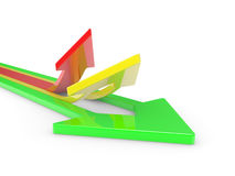 3D Arrows directed upwards Stock Photography