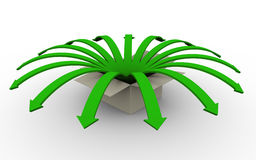 3d arrows jumping. 3d render of green flower arrows jumping outside from box Stock Image