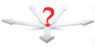 3D arrows and question mark. Illustrated 3d arrows with a question mark in the center on a white background Stock Image