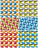3d arrows seamless patterns set. Vector backgrounds collection Stock Photos