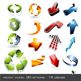 3d arrows - set 1. Set of different shiny threedimensional arrows - 16 items Royalty Free Stock Photos