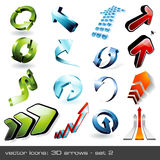 3d arrows - set 2. Set of threedimensional arrows, 16 pieces Royalty Free Stock Images