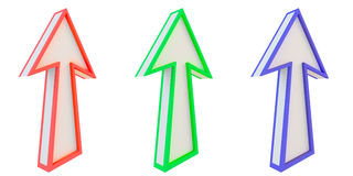 3d arrows on white. Red green blue 3d arrows isolated on white Royalty Free Stock Images