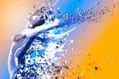 3D Art. 3D Exploding Digital Female - 3D Render.  Blue-Orange Background Royalty Free Stock Photography
